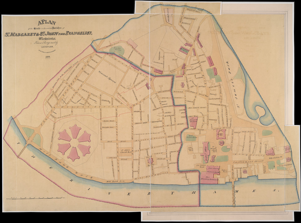 A PLAN of the Streets in the united Parishes of ST. MARGARET & ST. JOHN THE EVANGELIST, Westminster. From a Survey made by I.H. Taylor. No. 22 PARLIAMENT STREET 1828.